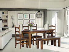 Essgruppe Esstisch Pinie Holz Tisch massiv 140x90 & 4 x Mexico Stuhl & Bank 140