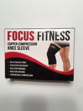 Focus Fitness Copper Compression Knee Sleeves. Size XXL.  Black New Never Used