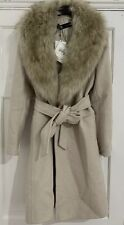 ZARA Sand Coat With Faux Fur Collar Size M RRP£120 Brand New With Tags