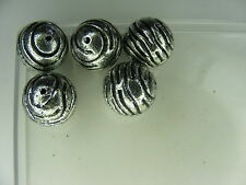 5 PERLES RONDES ARGENTE 16 mm synthétiques EXTRA !!!     A795