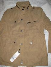 NEW- Tags Men's coat jacket tan beige w/ black& white lining Large, Med 34 36 38