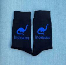 Uncle Dinosaur Blue Vinyl Print Socks Christmas Socks Uncle Gift Birthday Gift