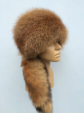 Red Fox Fur All Fur Round Hat With Tail