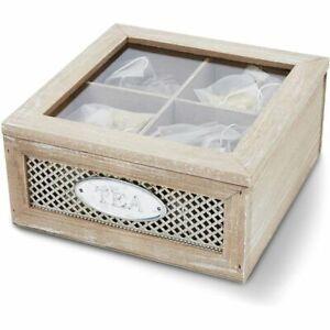 Rustic Wood Tea Storage Box Chests Tea Bags Accessories Kitchen Organizer 4-Grid