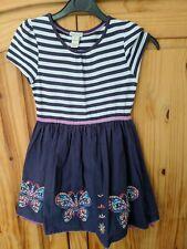Monsoon Girls Party Dress 5-6 Years 100% Cotton Blue White Stripe Butterflies