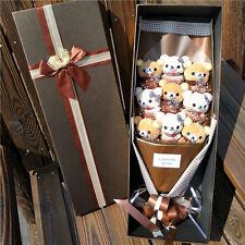 Bunch of 9 Rilakkuma Dolls flowers Plush Stuffed Toyss Bithday Creative Gift Box