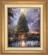 "Thomas Kinkade Christmas In New York 24"" x 20"" LE S/N Canvas (Gold Frame)"