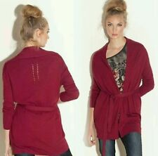 NWT GUESS Phoebes Perfect burgandy sweater knit Cardigan with belt size XS