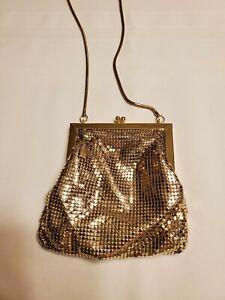 Purse Handbag Gold Sequin Shiny Flashy Bright Gold Snake Like Rope Strap Cross