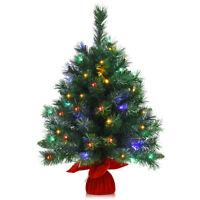 "26"" Pre-Lit Tabletop Artificial Fir Christmas Tree Battery Powered 8 Flash Modes"