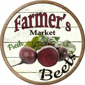 """FARMERS MARKET BEETS 12"""" ROUND LIGHTWEIGHT METAL WALL SIGN DECOR RUSTIC"""