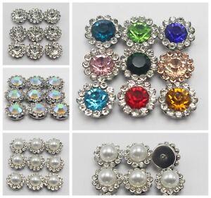 50 Pcs Metal Bling Crystal Rhinestone Pearl Flatback Buttons Wedding Invitation