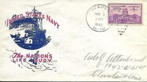 WW Two Patriotic Cover United States Navy The Nations Life Buoy Macedonia OH