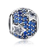 925 Sterling Silver Follow The Stars Midnight Blue Crystal Charm bead pandora