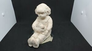 DEE CROWLEY Sculpture Bright Eyes Girl With Rabbit...Pre-owned...Read Desc...
