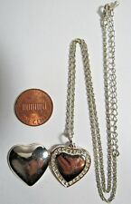 VINTAGE STERLING SILVER LOCKET HEART WITH STONES PENDANT NECKLACE CHAIN 19""