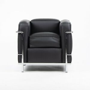 Cassina Italy Le Corbusier LC2 Petit Modele Armchair with New Black Upholstery