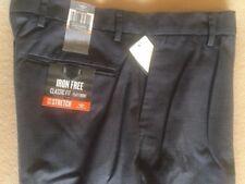 DOCKERS Mens Iron Free Classic Fit Flat Front Pants 36x30 Storm Gray Plaid