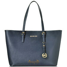 MICHAEL KORS JET SET SAFFIANO LEATHER BAG TOP ZIP MULTIFUNCTION TRAVEL TOTE NAVY