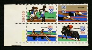 US Plate Blocks Stamps #1791-94 ~ 1980 SUMMER OLYMPICS 15c Plate Block of 4 MNH