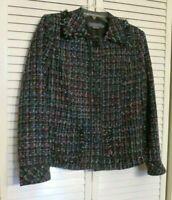 Koret Women's Black Blazer Jacket Textured Tweed Look Size 10 Fringed Accents