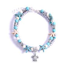 Women Beach Anklet Bracelet Turtle Turquoise Sea Starfish Boho Beads