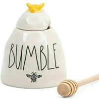 #CUTE Rae Dunn BUMBLE Honey Pot Bee Wood Dipper HTF LL RARE Magenta Artisan
