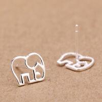 Copper Plated Animal Elephant Shape Stud Earrings Origami Cute Jewellery S