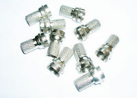 10 x  Twist on F Connector Plug for Sat Cable RG6 or any other 6 or 7 mm coax