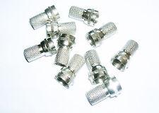 10 x Twist En F Conector Plug Para Sat Cable Rg6 o cualquier otro 6 o 7 Mm Coaxial