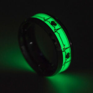 Ring Stainless Steel Glows IN The Dark Heart Heartbeat Lebenslinie Impuls