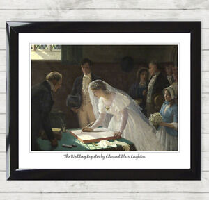 Framed Art Print Signing the Register by Edmund Blair Leighton Wedding Gift 014