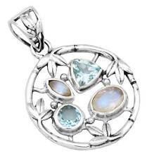 Rainbow Moon Stone Blue Topaz Pendant Solid 925 Sterling Silver Jewelry IP29281