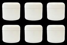 6 White Plastic Double Wall Jars 2oz (60ml) Containers with Domed Lid
