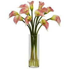 Nearly Natural 1187-PK - Mini Calla Lily Silk Flower Arrangement - Pink