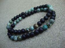 Men's Matte Black Onyx & African Turquoise 6mm Beaded stretch Bracelet Set of 2