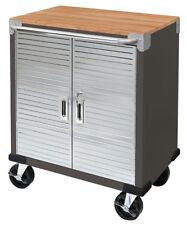 "Seville 2-Door Rolling Cabinet Storage Tool Box Cart Workbench 5"" Casters Shelf"