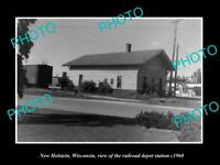 OLD LARGE HISTORIC PHOTO OF NEW HOLSTEIN WISCONSIN, THE RAILROAD STATION c1960