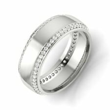 Women's 6 MM Wedding Anniversary Diamond Bands 925 Sterling Silver