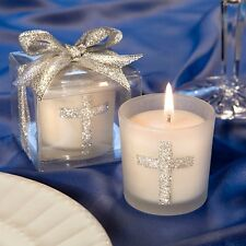 Silver Cross Themed Candle Favor Baptism Christening Gift Favors