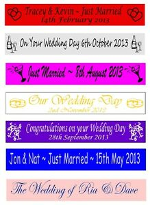 Personalised Just Married Wedding Party Banners Banner 100mm x 1 metre