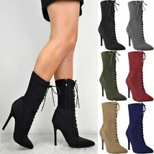 Ladies Womens Lace Up Stretchy High Heel Stiletto Ankle Boots Party Shoes Size