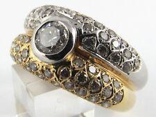 Brillant Ring bicolor 18K 750 Gold 63 Brillanten ca 1,25 ct. Sadeis