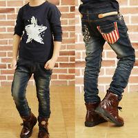 DIIMUU Boys Clothing Clothes Pants Kids Boy Denim Jeans Student Trousers Bottoms
