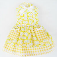 Yellow Gingham Dog Dress Little Dog Clothes Small Dog Size M S XS XXS XXXS