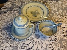 ORIENTAL PLATE MUG WITH LID & SAUCER & RICE BOWL & SPOON