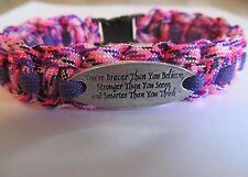 You're Braver Than You Believe Charm Paracord Bracelet - handmade