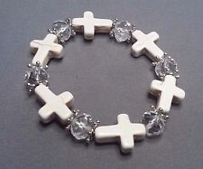 Christian Bracelet MINIATURE CROSSes Matched Facet Crystal Accent Bead WHITE !!