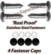 STAINLESS STEEL LICENSE PLATE FRAME/COVER RUST PROOF FASTENER/SCREWS BLACK CAPS