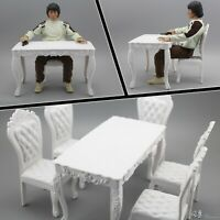 1:6 Chair And Desk Model Playset Toy For 12 INCH Action Figure 4 Chairs 1 Desk